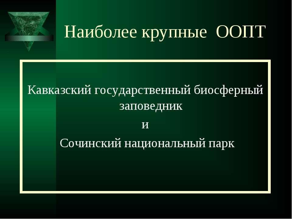 Наиболее крупные ООПТ Кавказский государственный биосферный заповедник и Сочи...