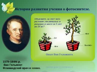 1579–1644г.р. Ван Гельмонт Фламандский врач и химик.