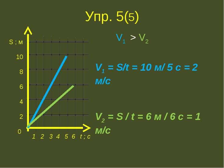 Упр. 5(5) S ; м 10 8 6 4 2 0 1 2 3 4 5 6 t ; с V1 = S/t = 10 м/ 5 с = 2 м/с V...