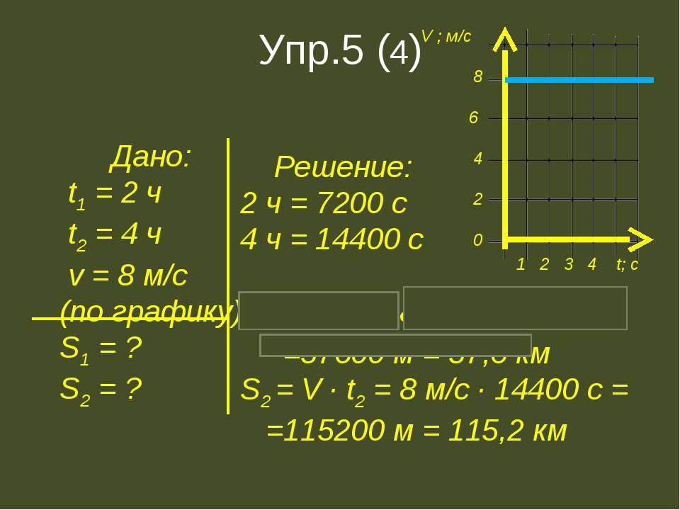 Упр.5 (4) Дано: t1 = 2 ч t2 = 4 ч v = 8 м/с (по графику) S1 = ? S2 = ? Решени...