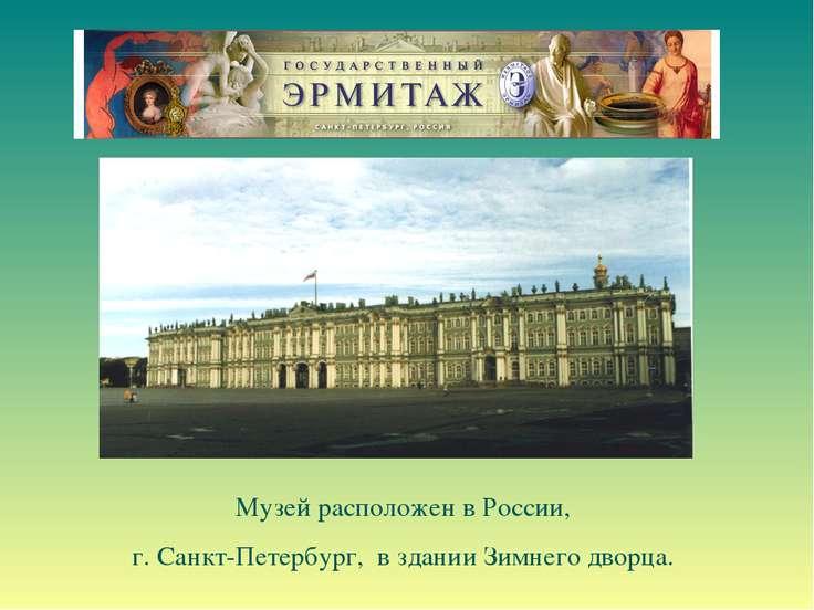 Музей расположен в России, г. Санкт-Петербург, в здании Зимнего дворца.