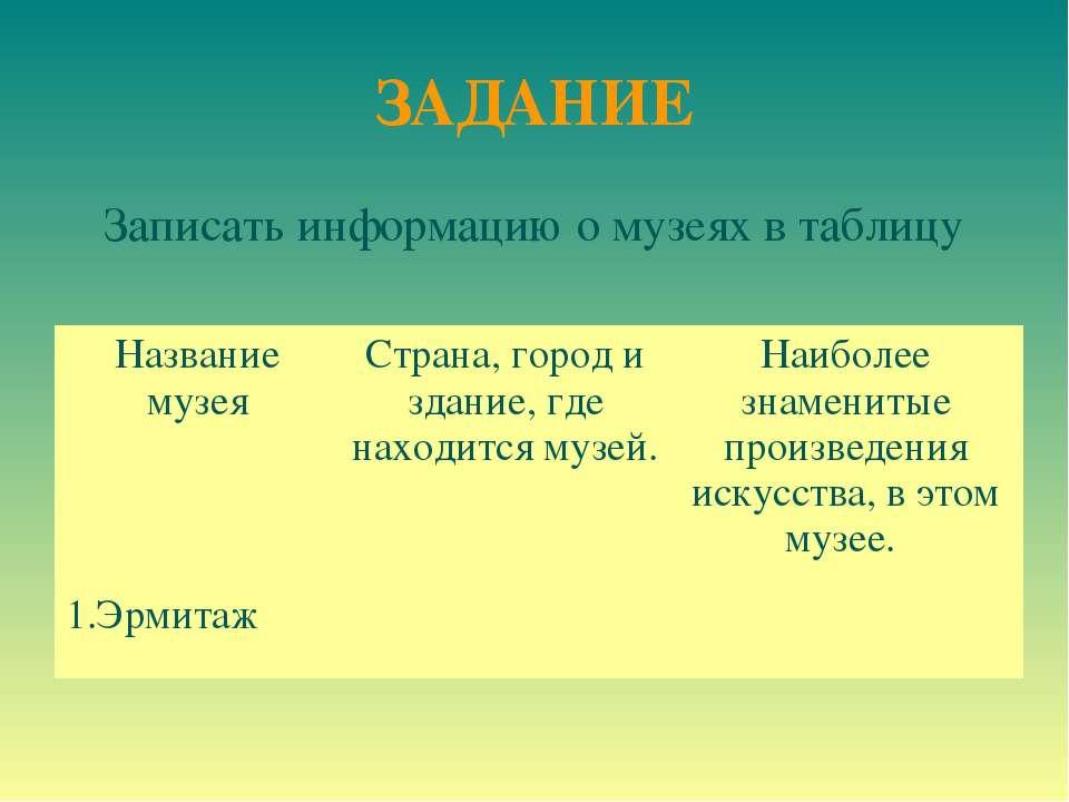 ЗАДАНИЕ Записать информацию о музеях в таблицу Название музея Страна, город и...
