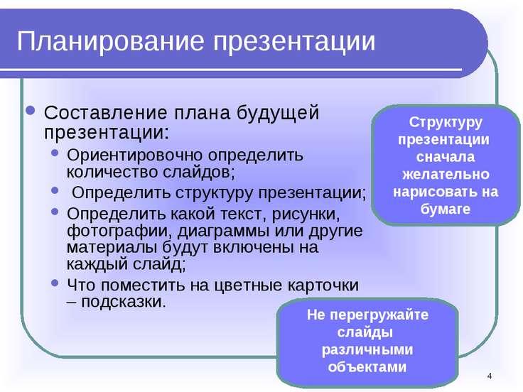 * Планирование презентации Составление плана будущей презентации: Ориентирово...