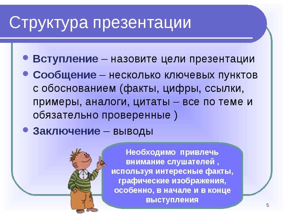 * Структура презентации Вступление – назовите цели презентации Сообщение – не...