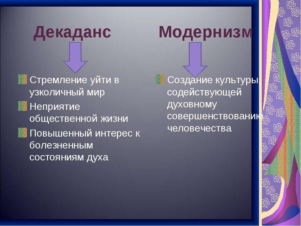 Декаданс Модернизм Стремление уйти в узколичный мир Неприятие общественной жи...