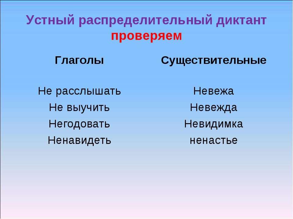 Устный распределительный диктант проверяем Глаголы Не расслышать Не выучить Н...