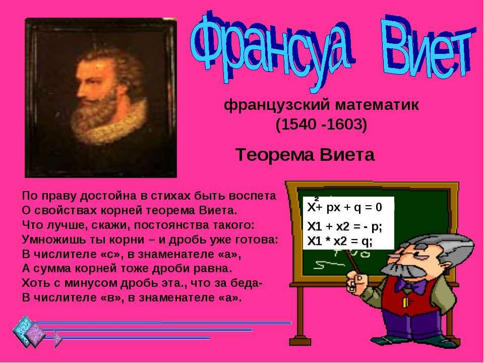 французский математик (1540 -1603) Теорема Виета По праву достойна в стихах б...