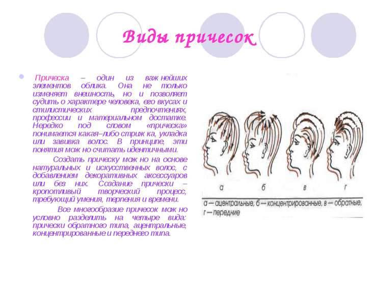 Виды причесок Прическа – один из важнейших элементов облика. Она не только и...