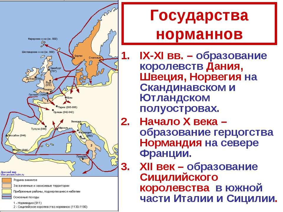Государства норманнов IX-XI вв. – образование королевств Дания, Швеция, Норве...