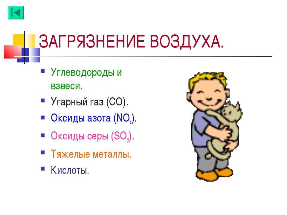 ЗАГРЯЗНЕНИЕ ВОЗДУХА. Углеводороды и взвеси. Угарный газ (СО). Оксиды азота (N...