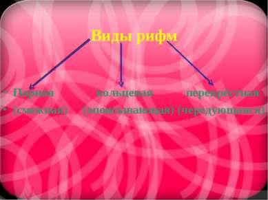 Виды рифм Парная кольцевая перекрёстная (смежная) (опоясывающая) (чередующаяся)