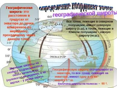 Все точки, лежащие в северном полушарии, имеют северную широту (с.ш), а точки...