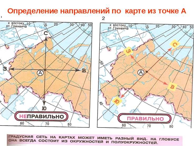 Определение направлений по карте из точке А