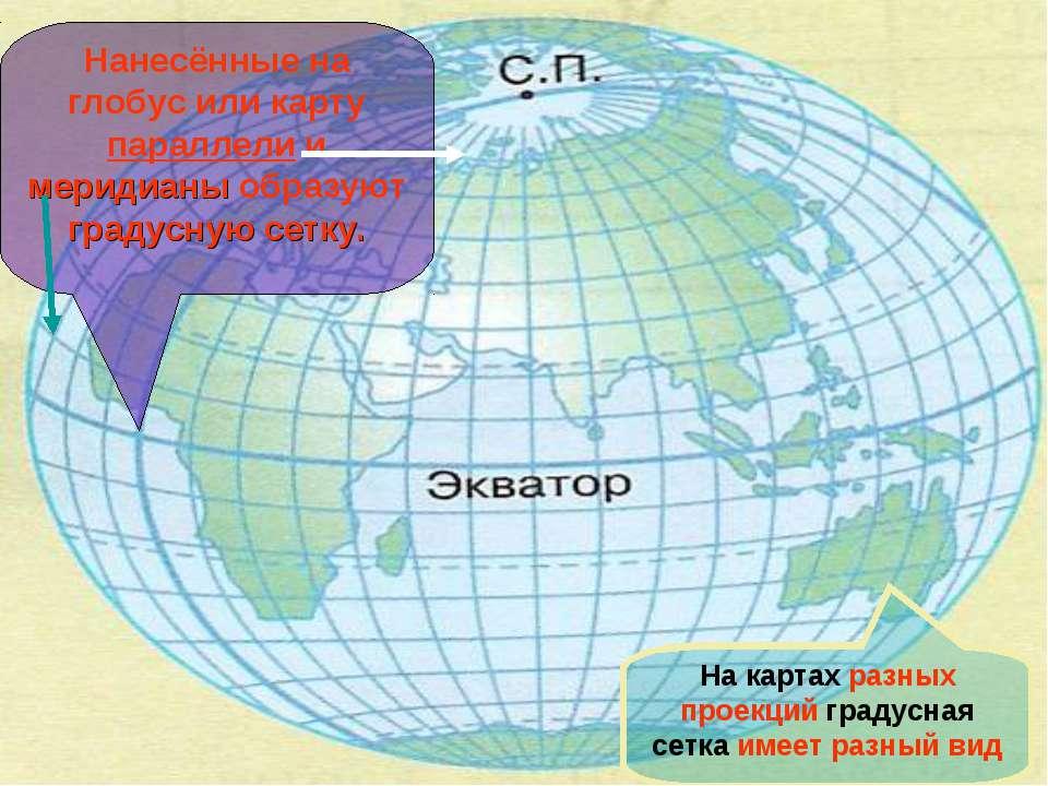 Нанесённые на глобус или карту параллели и меридианы образуют градусную сетку...