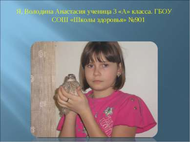 Я, Володина Анастасия ученица 3 «А» класса. ГБОУ СОШ «Школы здоровья» №901