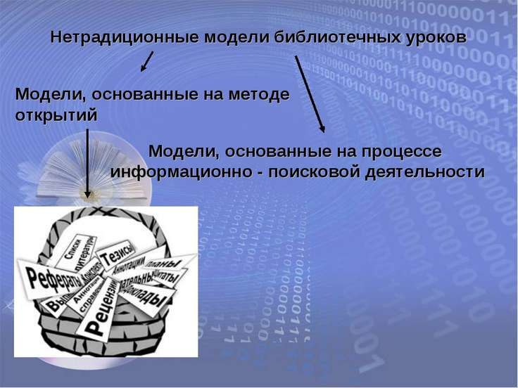 Нетрадиционные модели библиотечных уроков Модели, основанные на методе открыт...
