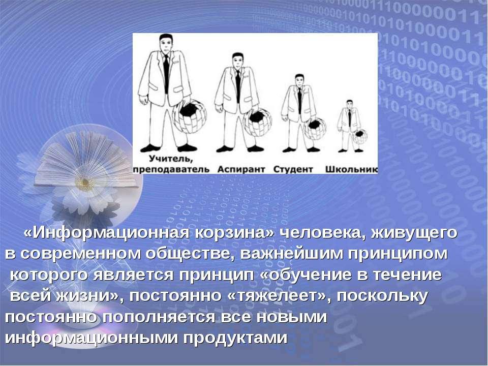 «Информационная корзина» человека, живущего в современном обществе, важнейшим...