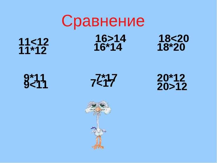 Сравнение 11*12 9*11 16*14 7*17 18*20 20*12 11