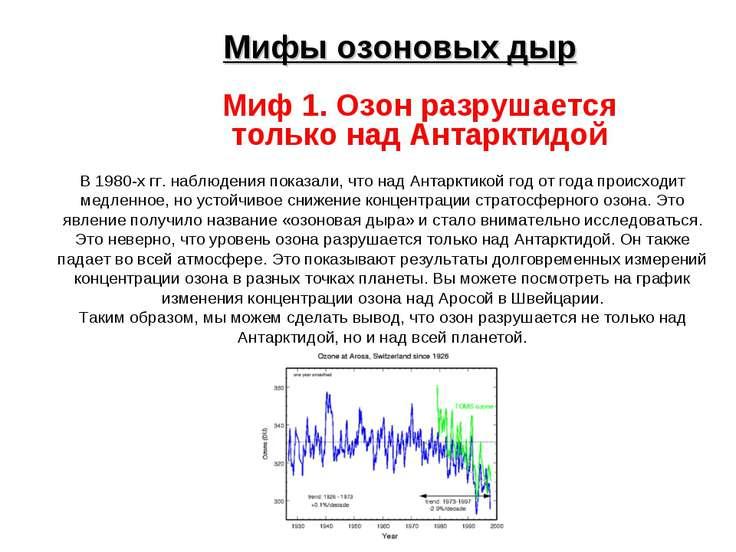Мифы озоновых дыр Миф 1. Озон разрушается только над Антарктидой В 1980-х гг....