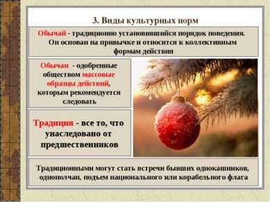 3. Виды культурных норм Обычай - традиционно установившийся порядок поведения...