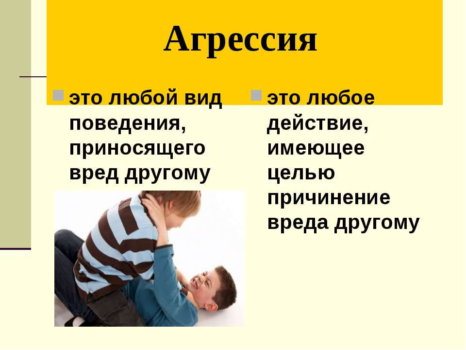 Агрессия это любой вид поведения, приносящего вред другому это любое действие...