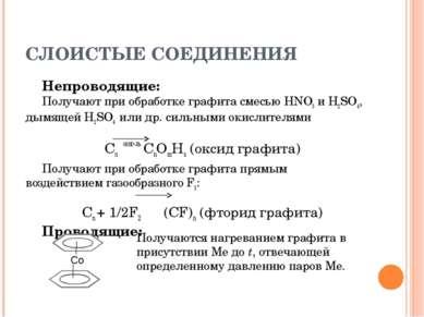 СЛОИСТЫЕ СОЕДИНЕНИЯ Непроводящие: Получают при обработке графита смесью HNO3 ...