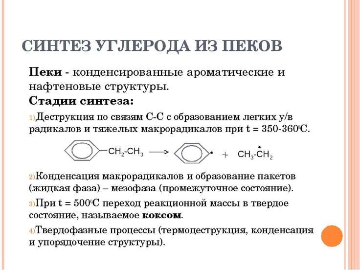 СИНТЕЗ УГЛЕРОДА ИЗ ПЕКОВ Пеки - конденсированные ароматические и нафтеновые с...