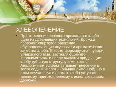 ХЛЕБОПЕЧЕНИЕ Приготовление печёного дрожжевогохлеба— одна из древнейших тех...