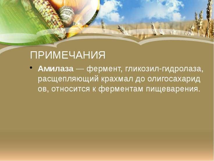 ПРИМЕЧАНИЯ Амилаза—фермент,гликозил-гидролаза, расщепляющийкрахмалдооли...