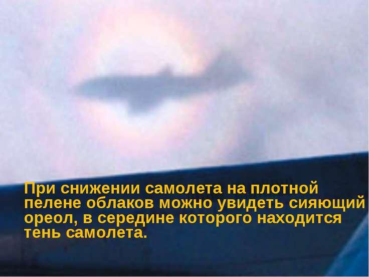 При снижении самолета на плотной пелене облаков можно увидеть сияющий ореол, ...