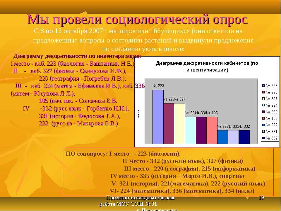 Проектно-исследовательская работа МОУ СОШ № 31 г. Новочеркасска * С 8 по 12 о...