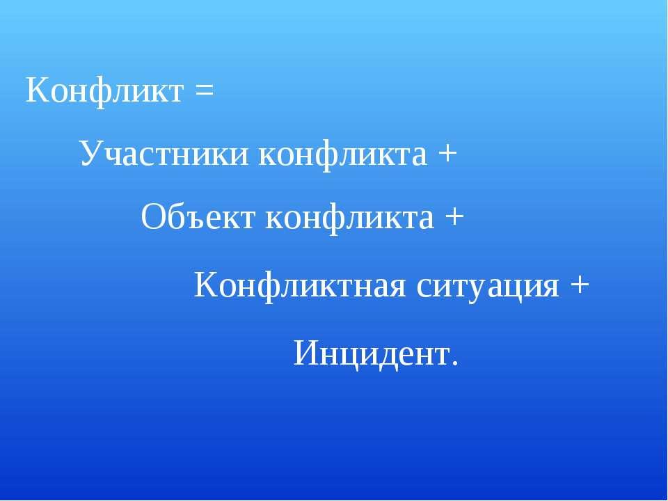 Конфликт = Участники конфликта + Объект конфликта + Конфликтная ситуация + Ин...