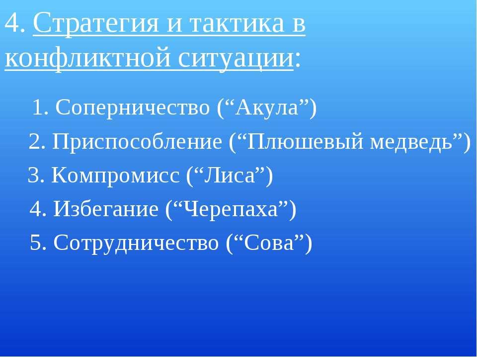 "4. Стратегия и тактика в конфликтной ситуации: 5. Сотрудничество (""Сова"") 1. ..."