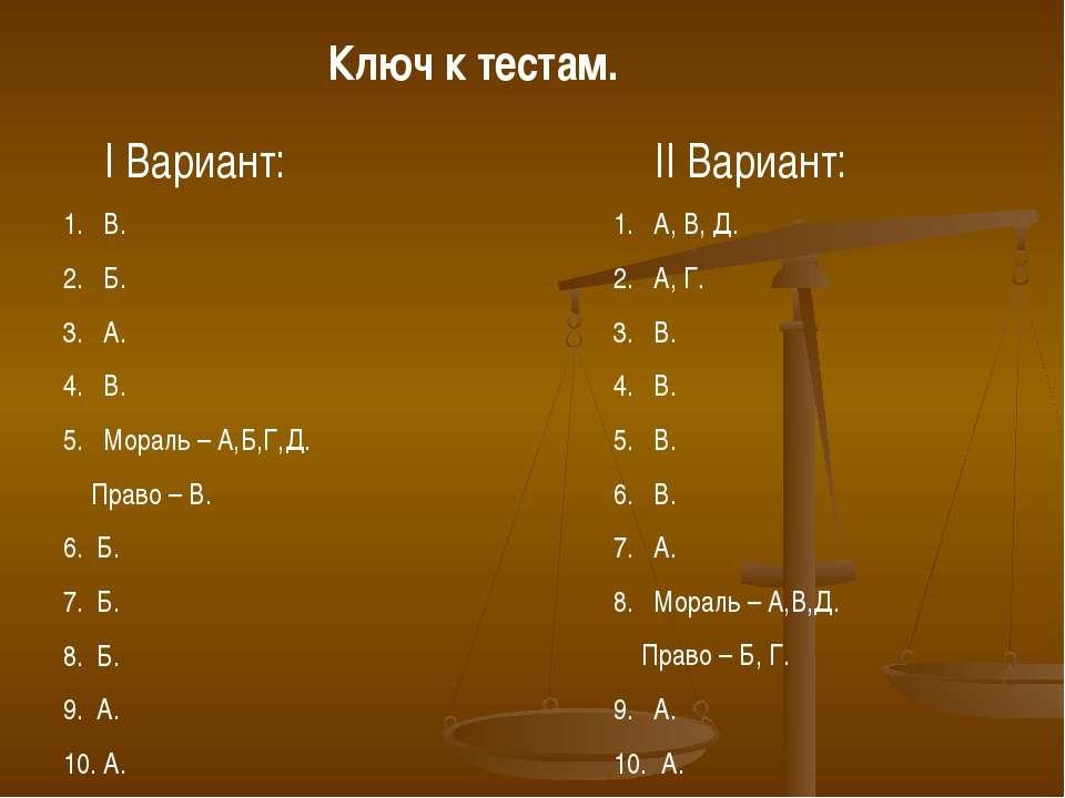 Ключ к тестам. I Вариант: В. Б. А. В. Мораль – А,Б,Г,Д. Право – В. 6. Б. 7. Б...