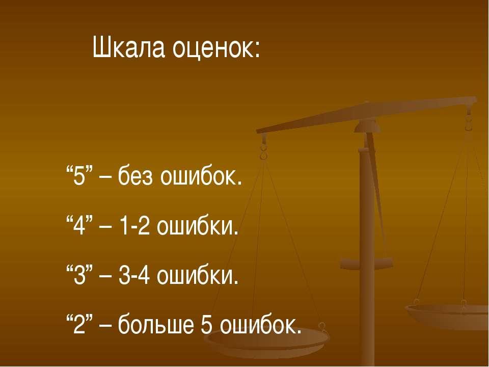 """5"" – без ошибок. ""4"" – 1-2 ошибки. ""3"" – 3-4 ошибки. ""2"" – больше 5 ошибок. ..."