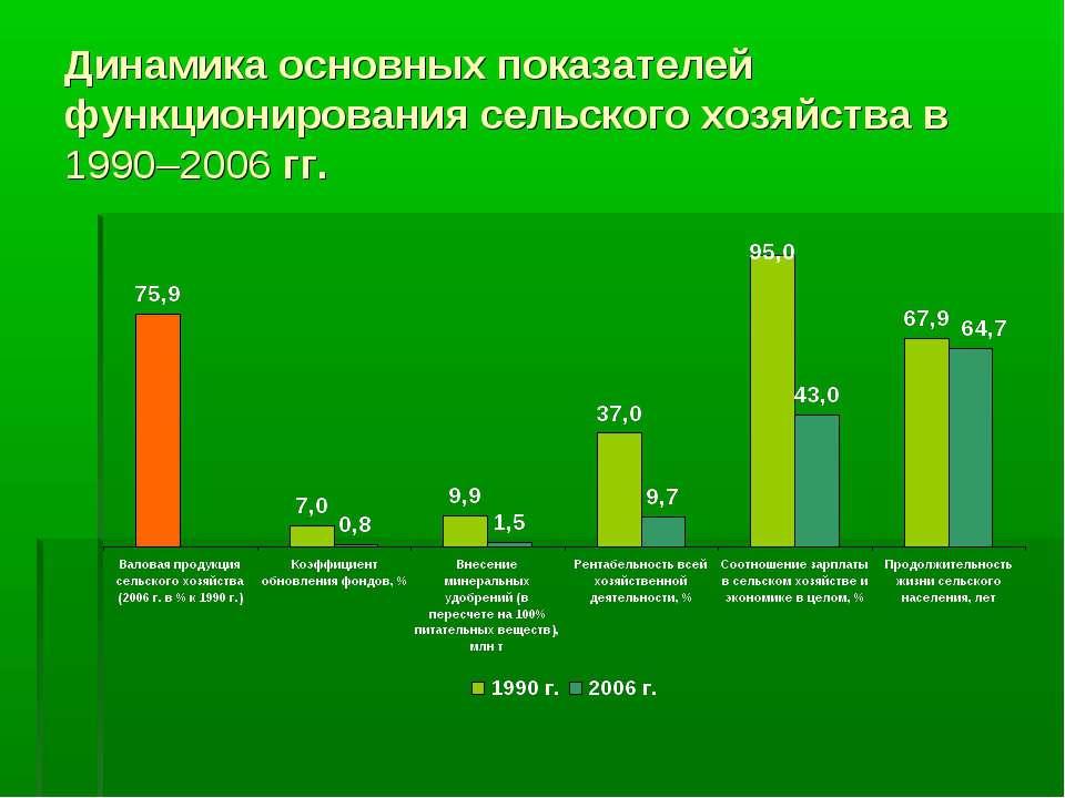 Динамика основных показателей функционирования сельского хозяйства в 1990–200...