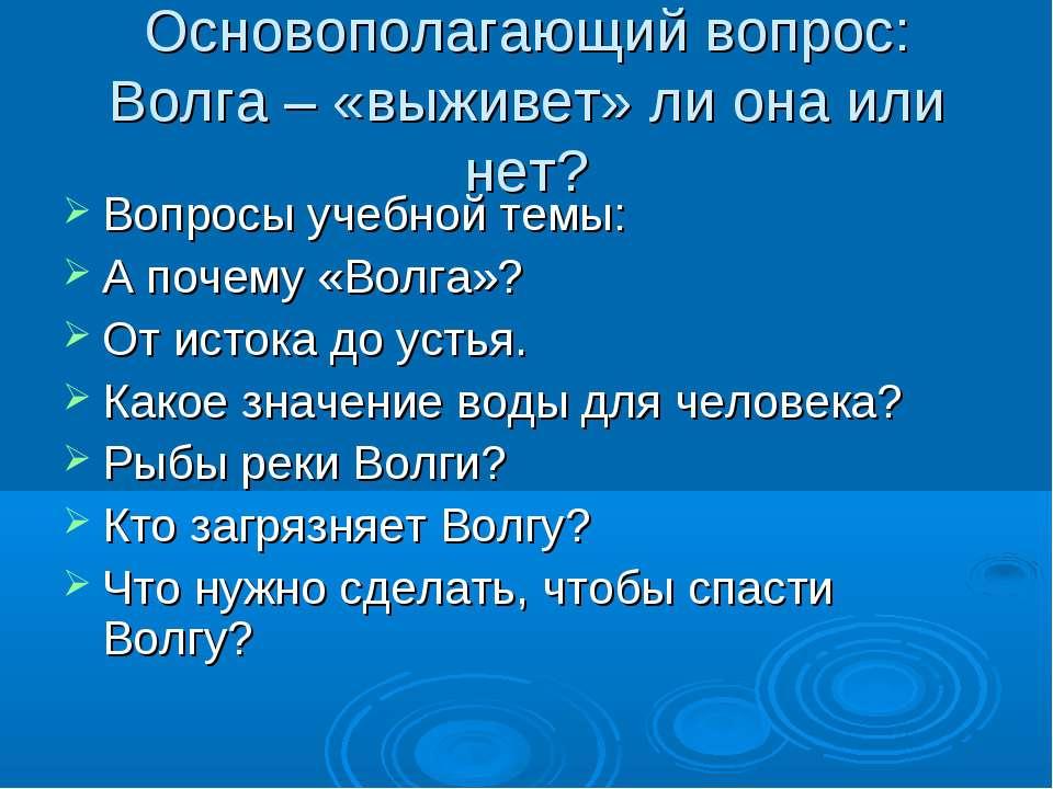 Основополагающий вопрос: Волга – «выживет» ли она или нет? Вопросы учебной те...