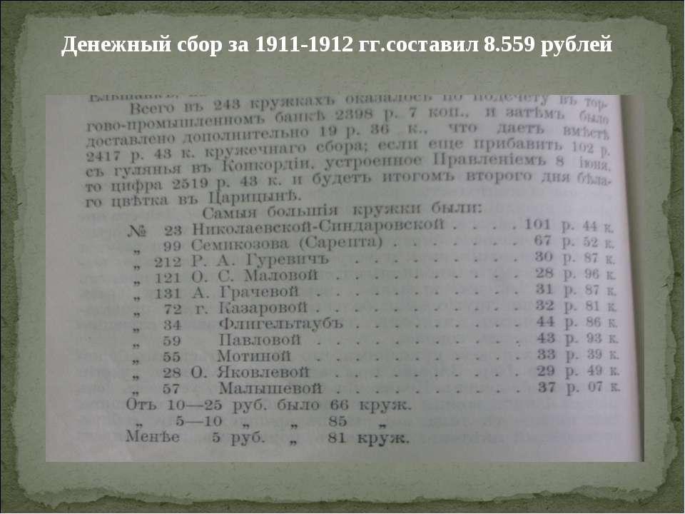 Денежный сбор за 1911-1912 гг.составил 8.559 рублей