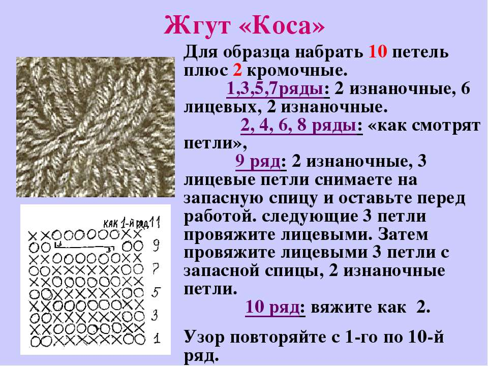 Жгут «Коса» Для образца набрать 10 петель плюс 2 кромочные. 1,3,5,7ряды: 2 из...