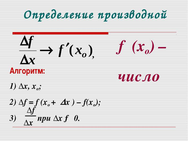 Определение производной f ′(xо) – число Алгоритм: 1) ∆х, хо; 2) ∆f = f (хо + ...