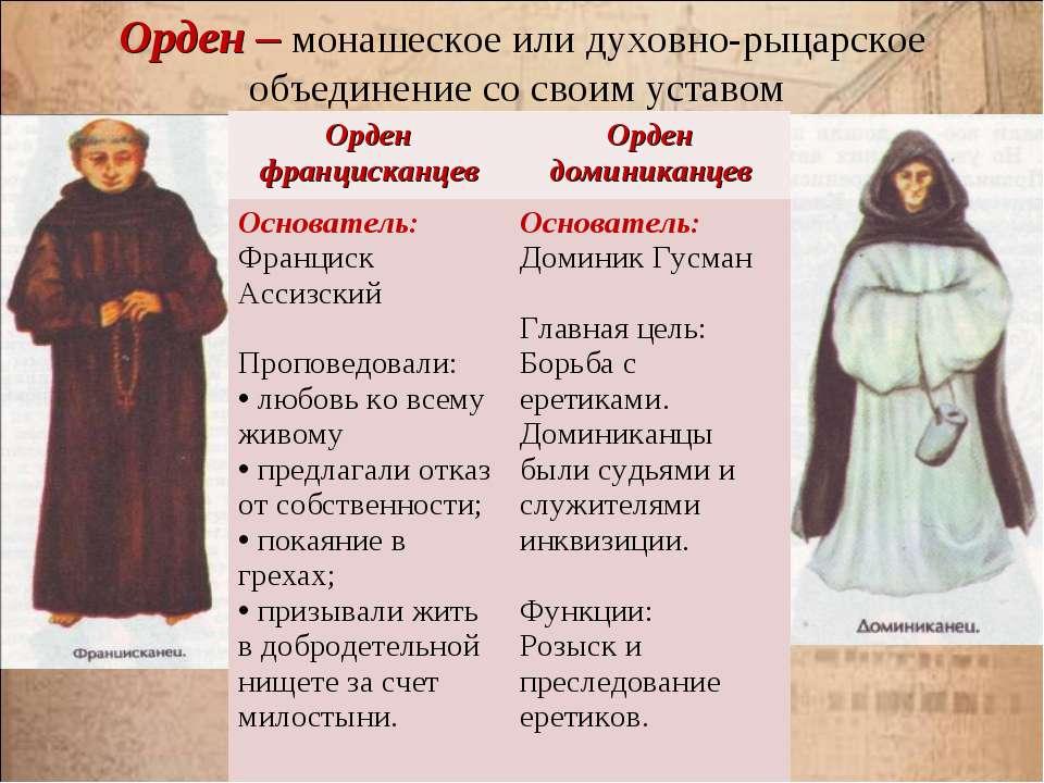 Орден – монашеское или духовно-рыцарское объединение со своим уставом Орден ф...