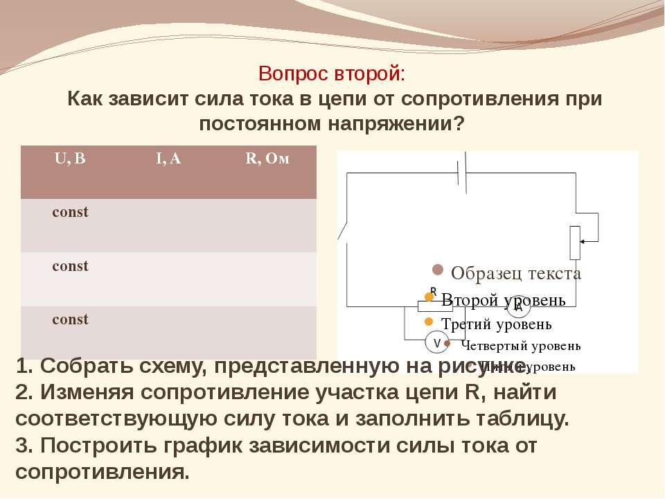 Вопрос второй: Как зависит сила тока в цепи от сопротивления при постоянном н...