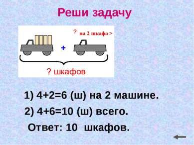 Реши задачу 1) 4+2=6 (ш) на 2 машине. Ответ: 10 шкафов. 2) 4+6=10 (ш) всего.