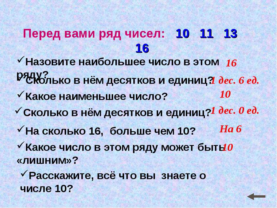 Перед вами ряд чисел: 10 11 13 16 Назовите наибольшее число в этом ряду? Скол...