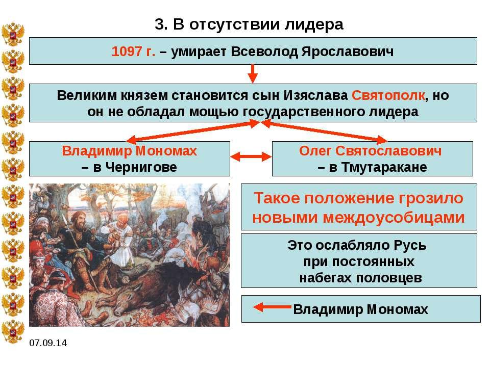 * 3. В отсутствии лидера 1097 г. – умирает Всеволод Ярославович Великим князе...
