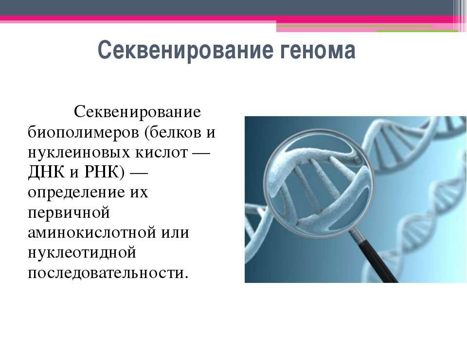 Секвенирование генома Секвенирование биополимеров (белков и нуклеиновых кисло...