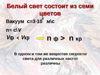 Белый свет состоит из семи цветов Вакуум с=3·10 м\с n= c\v Vф < Vкр 8 n ф > n...