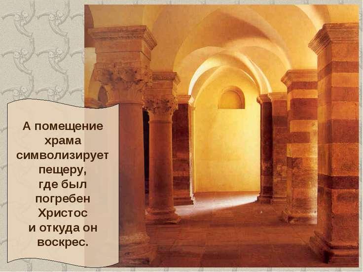 А помещение храма символизирует пещеру, где был погребен Христос и откуда он ...
