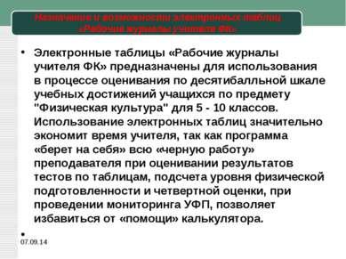 Назначение и возможности электронных таблиц «Рабочие журналы учителя ФК» Элек...