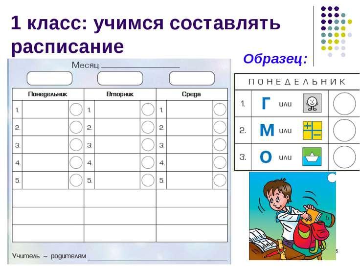 * 1 класс: учимся составлять расписание Образец: